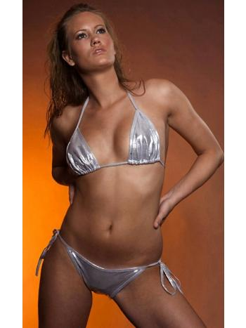 Silver Metallic Bikini Set