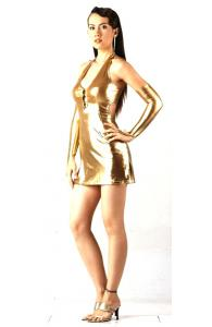 Gold V-Neck Halter Dress
