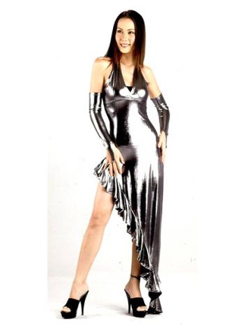 Sexy Silver Metallic Long Dress