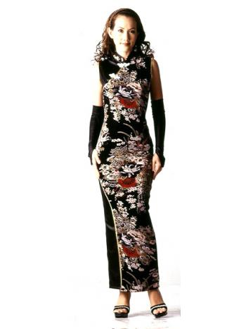 Long Asian Flower Dress