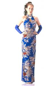 Long Blue Floral Cheongsam
