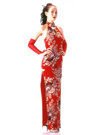 Long Red Floral Cheongsam
