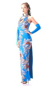 Long Turquoise Floral Cheongsam