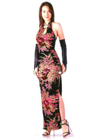 Asian Style Long Black Dress