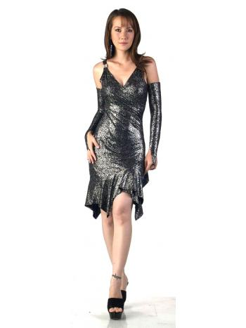 Metallic Halter Dress