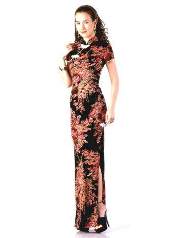 Elegant Long Black Asian Style Gown
