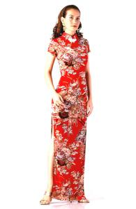 Elegant Long Red Asian Style Gown