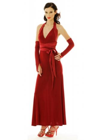 Red Sash Evening Gown