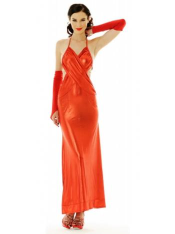 Long Red Lame Dress