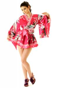 Hot Pink Kimono Mini Dress