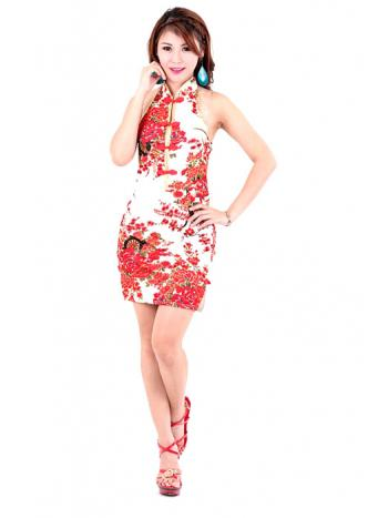 Luxurious White Mini Cheongsam