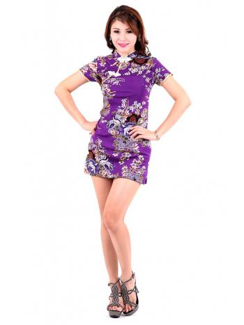Short Sleeved Mini Cheongsam