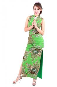 Long Green Floral Cheongsam