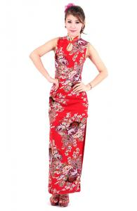 Red Blossoming Qipao Dress