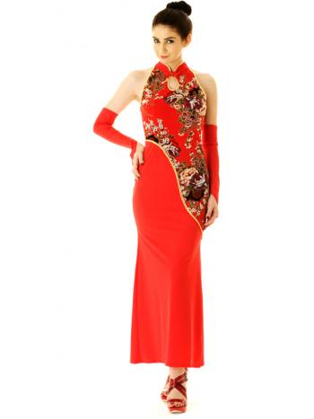 Deep Red China Dress