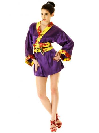 Purple Kimono Mini Dress