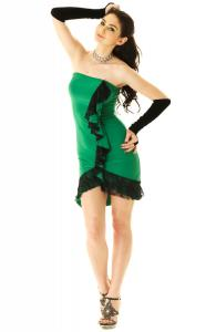 Strapless Green Salsa Dress