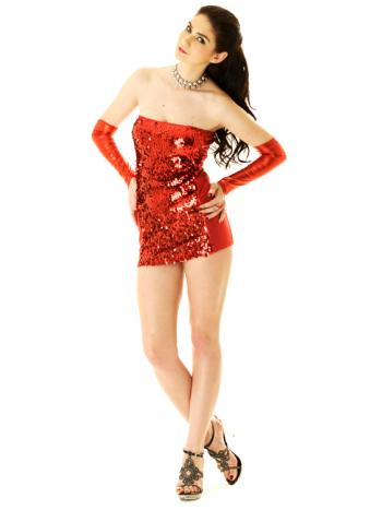 Red Metallic Tube Dress