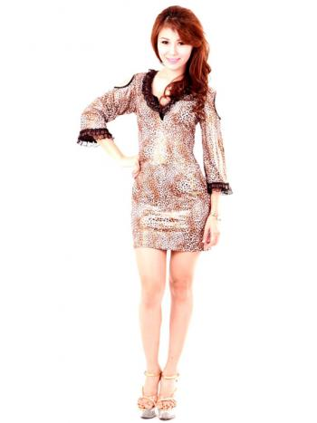 Modishly Short Leopard Print Dress
