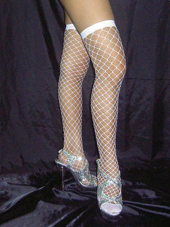 White Stay Up Fishnet Stockings