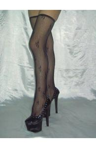 Black Embroidered Fishnet Stockings